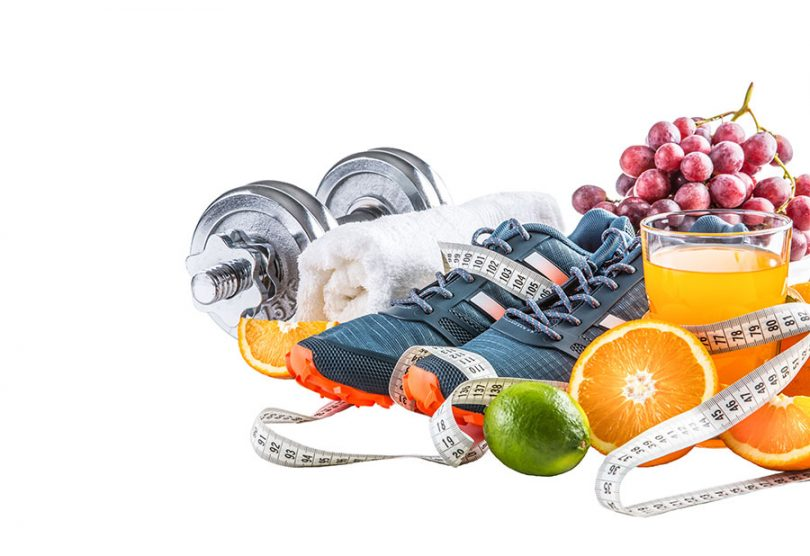 exercise-and-healthy-food-items