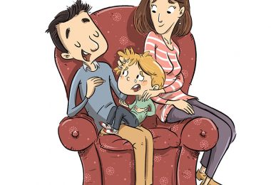 father-and-mother-comforting-crying-child-on-sofa